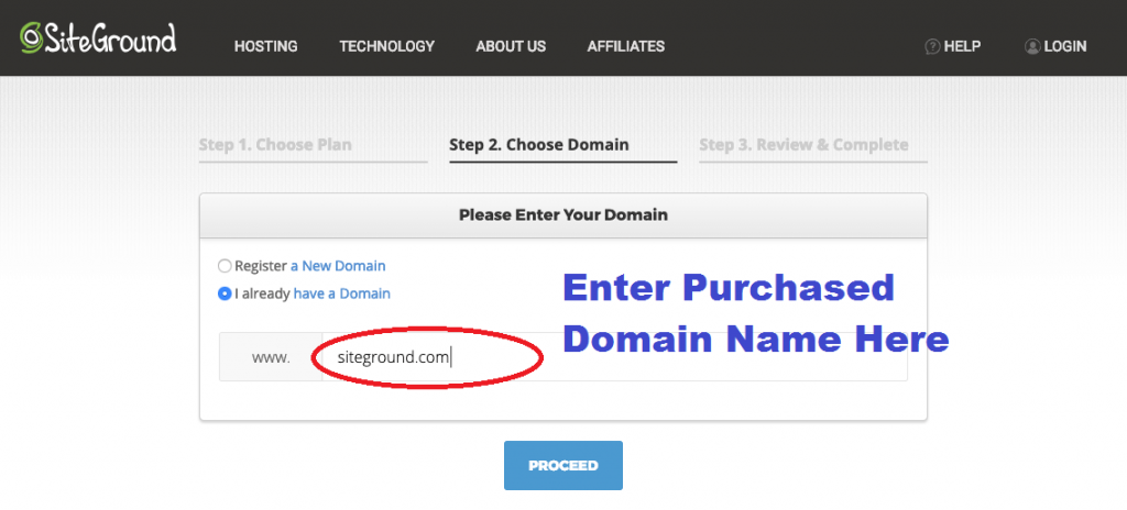 Enter Domain Name Purchased from Godaddy