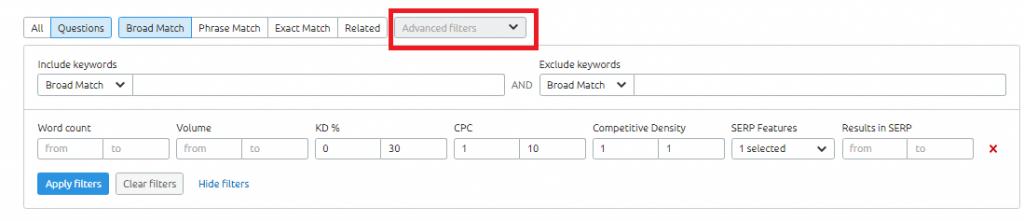 Semrush-analytics -keywords -overview-advance filter