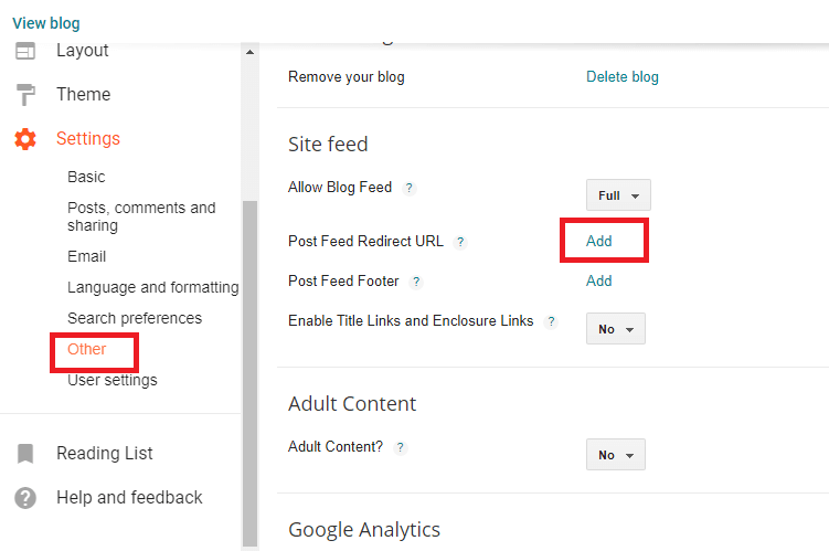 Adding feed URL to blogger