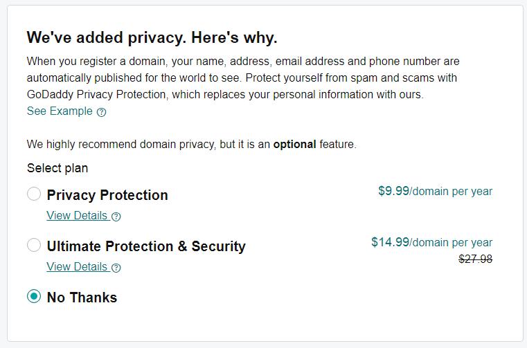 Godaddy Domain Purchasing Step 2