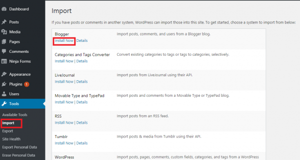 Importing Blogger Files to wordpress.